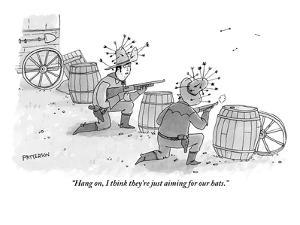 """Hang on, I think they're just aiming for our hats."" - New Yorker Cartoon by Jason Patterson"