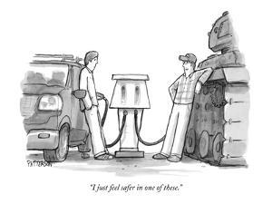 """I just feel safer in one of these."" - New Yorker Cartoon by Jason Patterson"