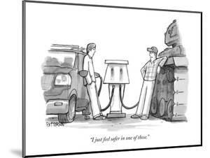 """""""I just feel safer in one of these."""" - New Yorker Cartoon by Jason Patterson"""
