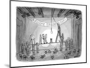Investors attempting to lynch CEO after stockholders meeting. Banner over ? - New Yorker Cartoon by Jason Patterson