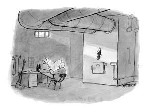 Janitor in a basement with a Christmas stocking hanging on the furnace. - New Yorker Cartoon by Jason Patterson