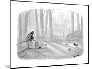 Man bringing alligator into dog park. - New Yorker Cartoon by Jason Patterson
