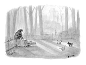 Man bringing alligator into dog park. - New Yorker Cartoon by Jason Patterson