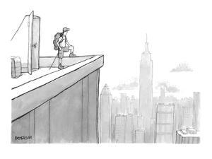 Man wearing hiking clothes peers out from the top of a building having jus? - New Yorker Cartoon by Jason Patterson