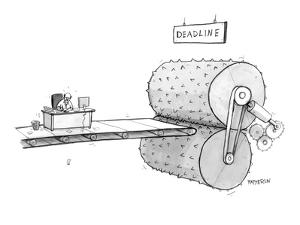 "Man working feverishly at desk on conveyor belt. Crushing gears at other e?"" - New Yorker Cartoon by Jason Patterson"