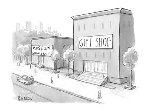 """Museum of Commerce"" next to a ""Gift Shop"" building that is twice as large? - New Yorker Cartoon by Jason Patterson"