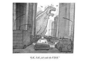 """O.K., O.K., let's take the F.D.R."" - New Yorker Cartoon by Jason Patterson"