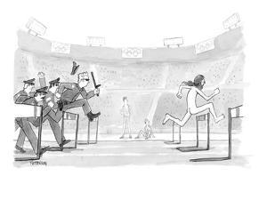 Police chasing naked streaker across Olympic track. - New Yorker Cartoon by Jason Patterson