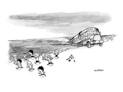 School bus coming out of the ocean as small children run away from it on t? - New Yorker Cartoon
