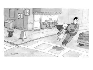 Superman escorts an elderly woman across the road. - New Yorker Cartoon by Jason Patterson