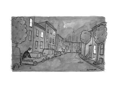 TITLE: Slow Night, Batman putting on parking tickets. - New Yorker Cartoon