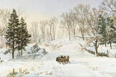 Winter on Ravensdale Road, Hastings-On-Hudson, New York, 1890 (Watercolor and Gouache on Paper)