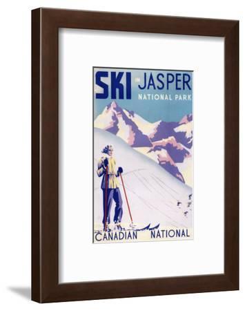 Jasper National Park, Canada - Woman Posing Open Slopes Poster-Lantern Press-Framed Art Print