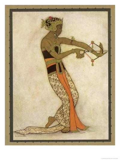 Javanese Dancer Drawing a Bow in a Highly Stylized Movement-Tyra Kleen-Giclee Print