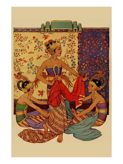 Javanese Girls Examne Fabric--Art Print
