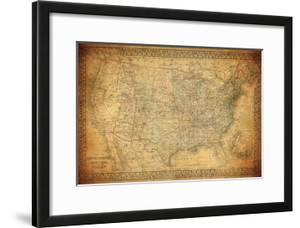 Antique maps artwork for sale posters and prints at art vintage map of united states 1867 gumiabroncs Images