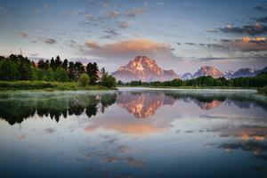 A Classic Reflection Over Oxbow Bend In Grand Teton National Park In Summer by Jay Goodrich