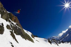 A Young Male Skier Drops Huge Air in the Mount Baker Backcountry on Mount Herman by Jay Goodrich