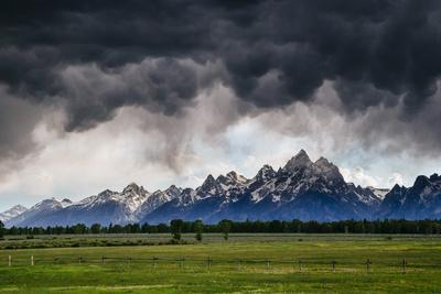 Blowing Clouds, Thunderstorm And Wind At Sunset In Grand Teton National Park Wyoming
