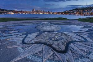 Decorative Concrete Inlay, Gasworks Park Looking At Seattle City Skyline, As Sun Sets In Washington by Jay Goodrich