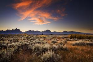 Firery Cloud Formation Lights Orange At Sunset Over The Teton Range In Autumn Near Jackson, Wyoming by Jay Goodrich