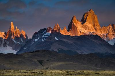 First Light Hits Cerro Torre And Mount Fitz Roy In Los Glacieres National Park, Argentina