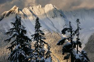 Mount Shuksan Is Illuminated By A Clearing Winter Storm At Sunset In North Cascades NP, Washington by Jay Goodrich