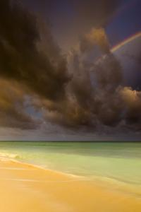 Multiple Rainbows, Storm Clouds Over Emerald Green Waters, Caribbean Ocean, Playa Del Carmen Mexico by Jay Goodrich