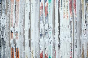Rime Covered Skis Mounted To The Wall Of Corbet's Cabin At Top Of Jackson Hole Mt Resort, Wyoming by Jay Goodrich