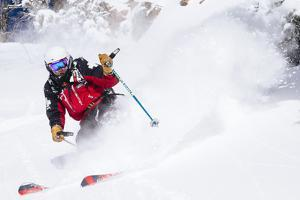 Skiing In-Bounds Powder And Terrain At Jackson Hole Mountain Resort by Jay Goodrich