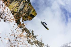 Skiing Off Of A Color Saturated Cliff In The Teton Backcountry Near JHMR, Teton Village, Wyoming by Jay Goodrich