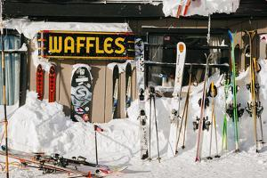 Skis On Walls/Snow Banks Corbet's Cabin Rendezvous Bowl Tramway, Jackson Hole Mt, Teton Village, WY by Jay Goodrich