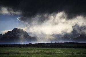 Spring Evening Thunderstorm Travels Along Jackson Hole Valley Over Mt Moran, Grand Teton NP, WY by Jay Goodrich