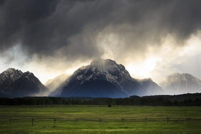 Spring Evening Thunderstorm Travels Jackson Hole Valley Over Mt Moran, Grand Teton NP, Wyoming