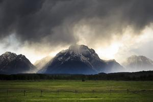 Spring Evening Thunderstorm Travels Jackson Hole Valley Over Mt Moran, Grand Teton NP, Wyoming by Jay Goodrich