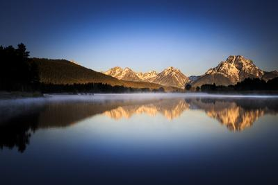 Sunrise Reflection Of Mt Moran Along Still Waters Of Oxbow Bend In Grand Teton NP, Wyoming