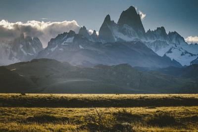Sunset Over The Cerro Torre Mount Fitzroy Spires In Los Glacieres National Park, Argentina