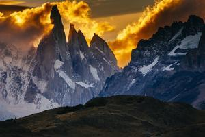 Sunset over the Cerro Torre Spires in Los Glacieres National Park, Argentina by Jay Goodrich