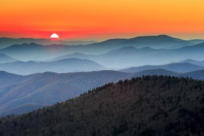 The Great Smoky Mountains At Sunset From Within Great Smoky Mountains National Park