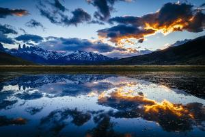 The Sun Sets Over The Towers Of Paine In Torres Del Paine National Park, Chile by Jay Goodrich