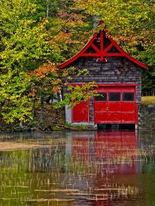 Old Forge. Red Boathouse on Lake Shore, New York, Usa by Jay O'brien