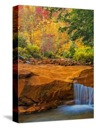 USA, West Virginia, Douglass Falls. Waterfall over Rock Outcrop
