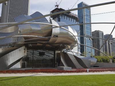 Jay Pritzker Pavilion Designed by Frank Gehry, Millennium Park, Chicago, Illinois, USA-Amanda Hall-Photographic Print