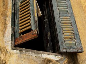 Shutters on Old Building, Kratie, Cambodia by Jay Sturdevant