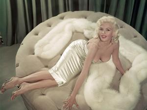 Jayne Mansfield Wearing a Close-Fitting Dress and a Fur Stole, C. 1956