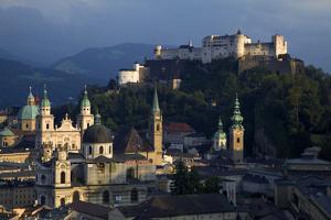 Austria, Salzburg. Overview of city beneath Hohensalzburg Fortress. by Jaynes Gallery