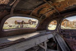 California, Bodie State Historic Park. Inside Abandoned Car Looking Out by Jaynes Gallery