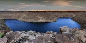 California, Owens Valley. Panoramic of Pleasant Valley Reservoir by Jaynes Gallery