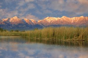 California, Sierra Nevada Mountains. Mountains Reflect in Billy Lake in Owens Valley by Jaynes Gallery
