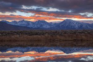 California, Sierra Nevada Range. Sierra Crest Seen from Buckley Ponds at Sunset by Jaynes Gallery